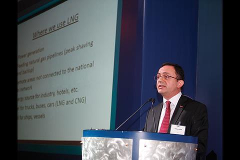 Mahmut Ozbiyik of ISISAN speaks at the conference in Dubai.